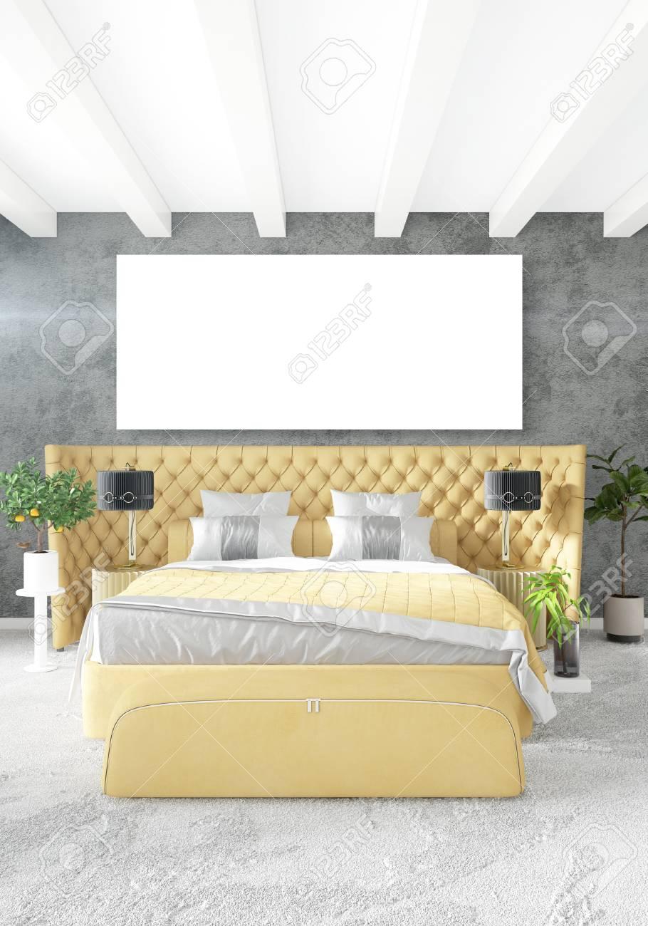Camera da letto soppalco in stile moderno interior design con muro reflex e  elegante scheletro 3d rendering