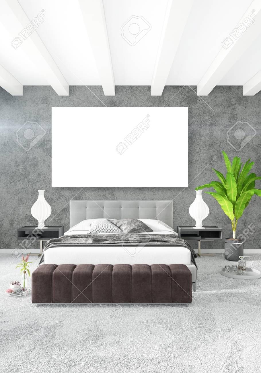 Immagini Stock - Camera Da Letto Soppalco In Stile Moderno Interior ...