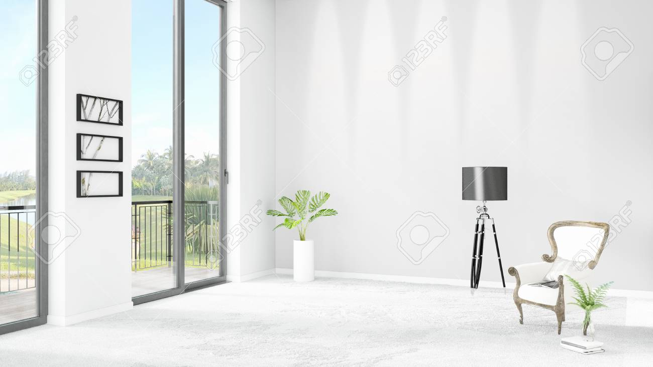 Nuovo camera da letto bianca loft o soggiorno interno di interior design  loft con parete di ritaglio e vista fuori della finestra. rendering 3d