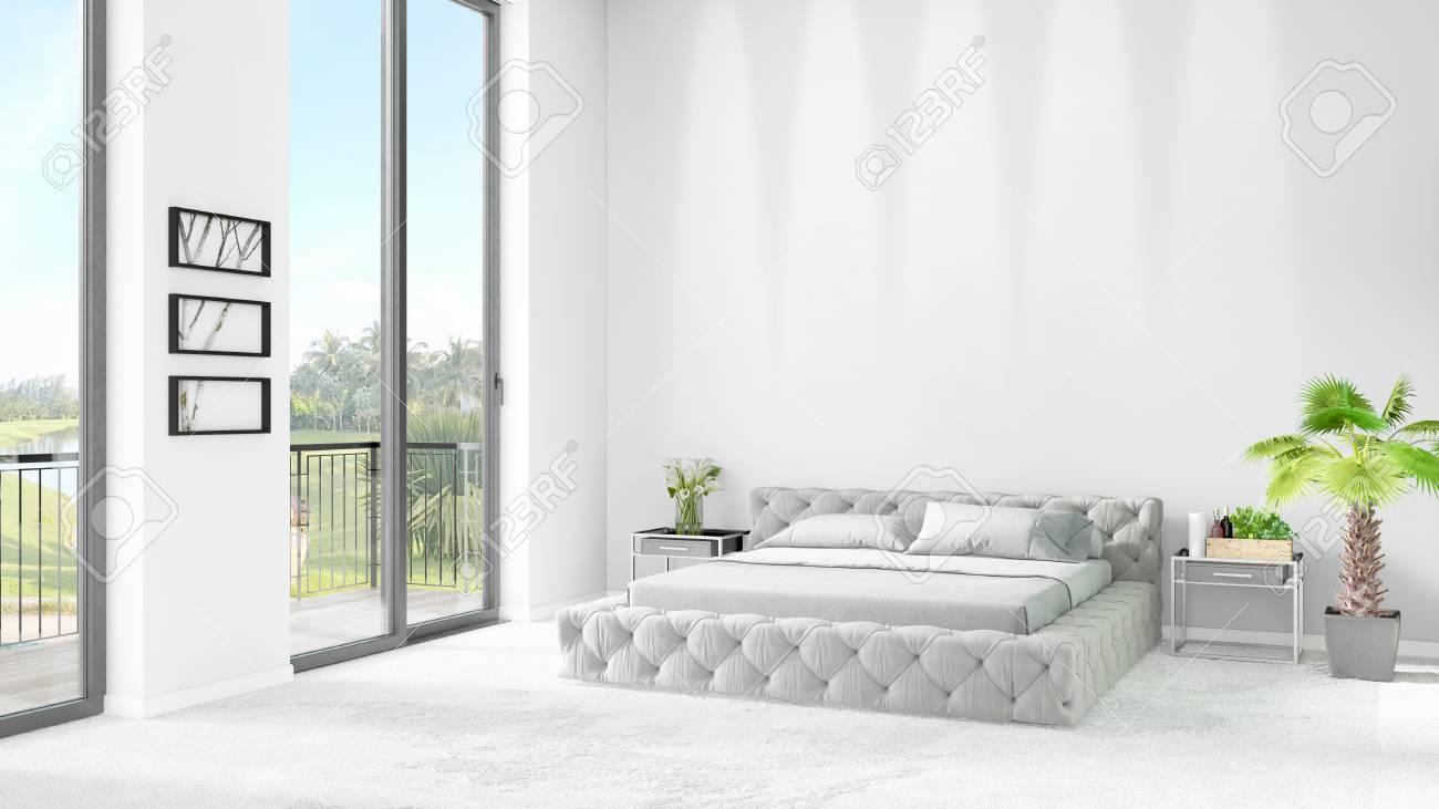 Stile bianco nuovo di lusso camera da letto stile minimal design con  copyspace parete e vista dalla finestra. Rendering 3D.