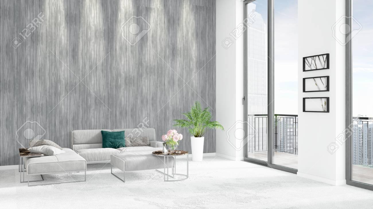 Brand New White Loft Bedroom Or Livingroom Minimal Style Interior ...