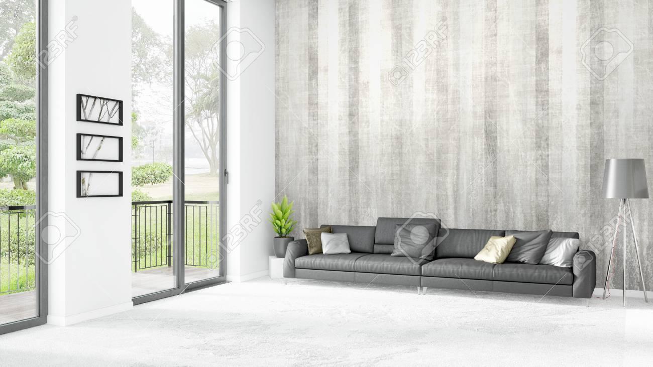 Camera da letto brandnew bianca del soppalco o salone minimal design di  stile in stile con copyspace parete e vista dalla finestra. Rendering 3D.
