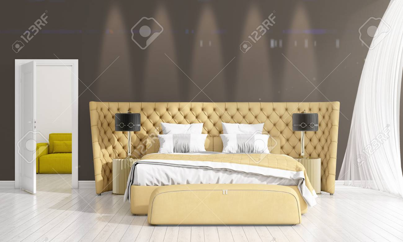 Modern interior design of bedroom in vogue with plant and