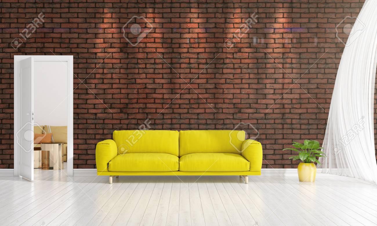 Interior Design Moderno Di Soggiorno In Voga Con Pianta, Divano ...