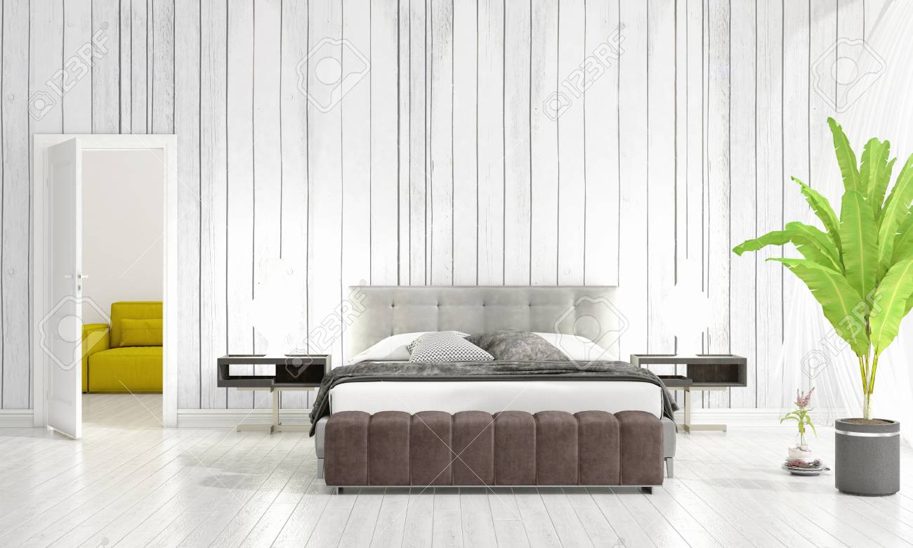 Modern interior design bedroom vogue plant stock illustration