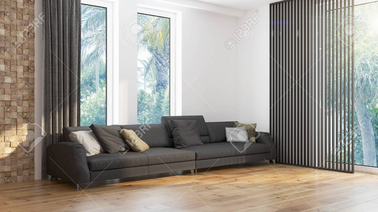 Modern design living room interior with beautiful view . 3D rendering - 133890675