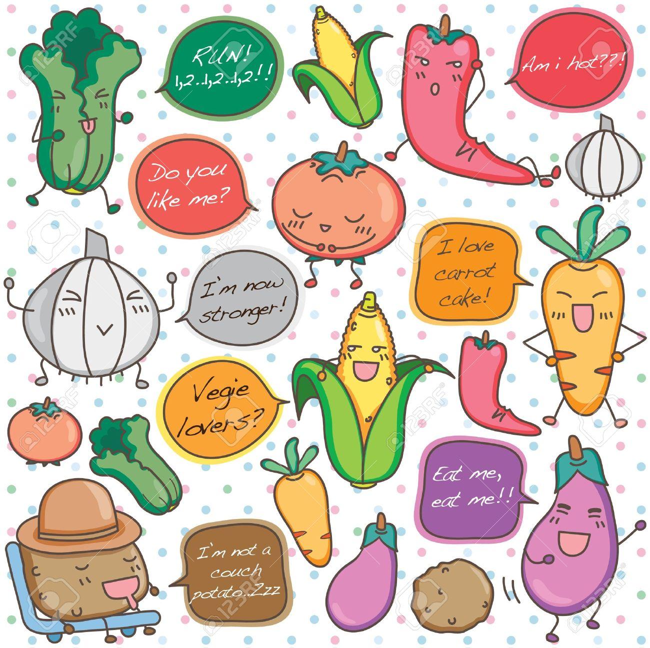 かわいいアジア野菜クリップアートを話していますのイラスト素材