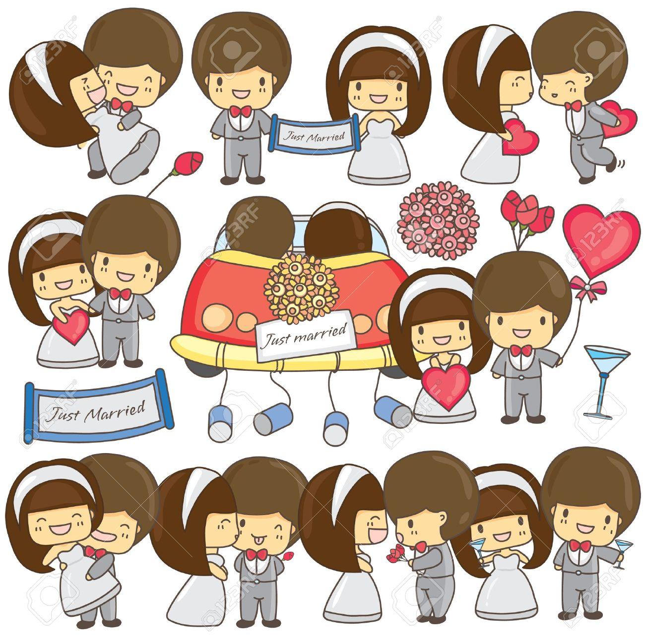 Happy wedding couple set Stock Vector - 17544835