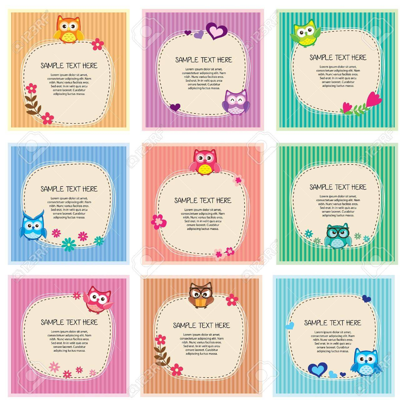 cute owl frames set stock vector 17923063