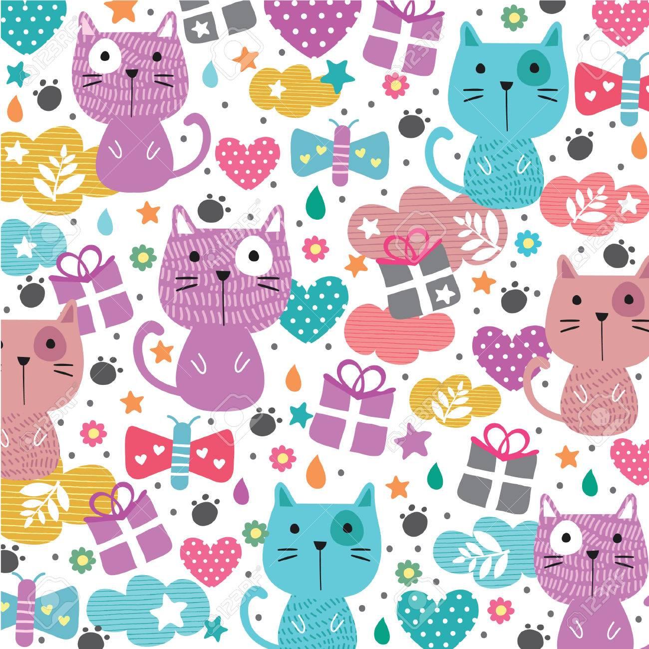 ニャー猫イラストの壁紙のイラスト素材 ベクタ Image