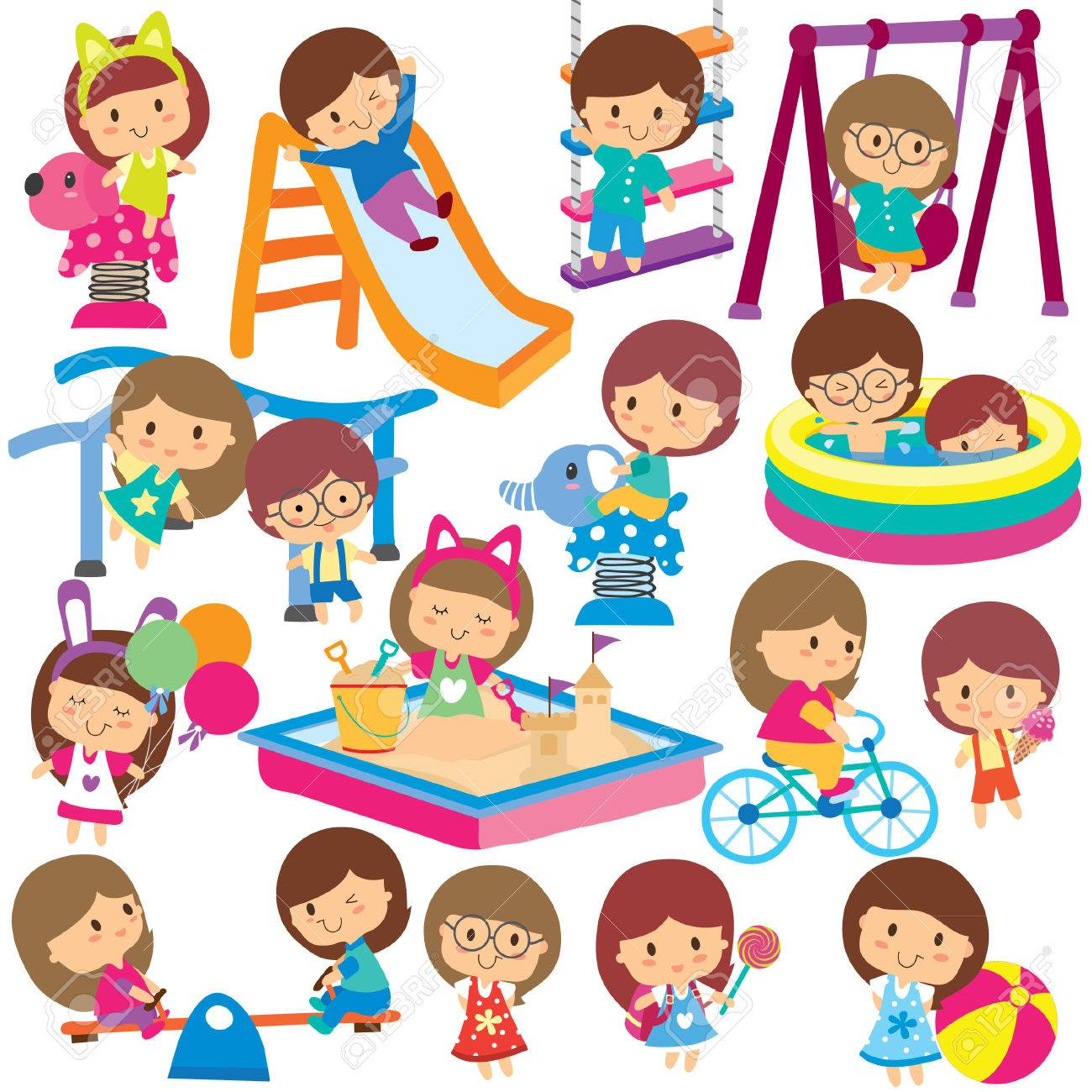 kids at playground clip art set royalty free cliparts vectors and rh 123rf com clipart playground games clipart playground equipment