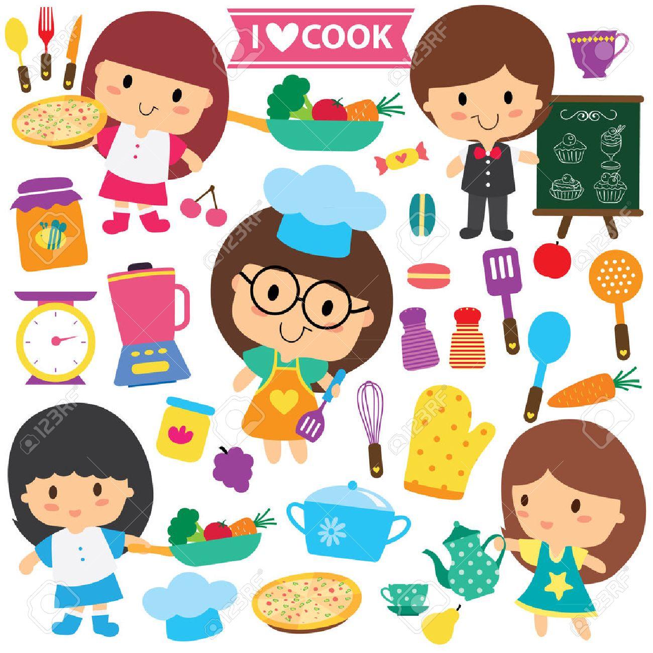 Play kitchen clip art - Chef Kids And Kitchen Elements Clip Art Set Stock Vector 32608320