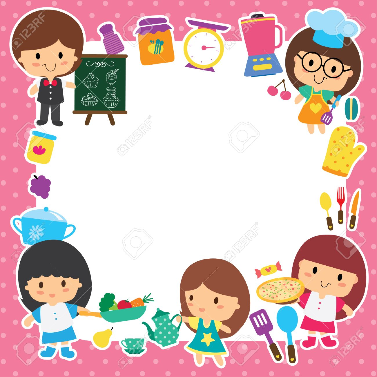 food preparation and kids layout design royalty free cliparts