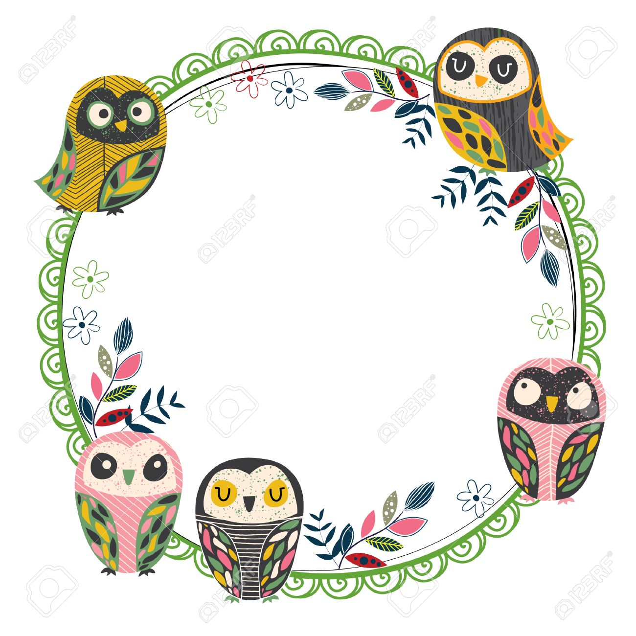 vintage owl frame layout  royalty free cliparts vectors and  - vector  vintage owl frame layout