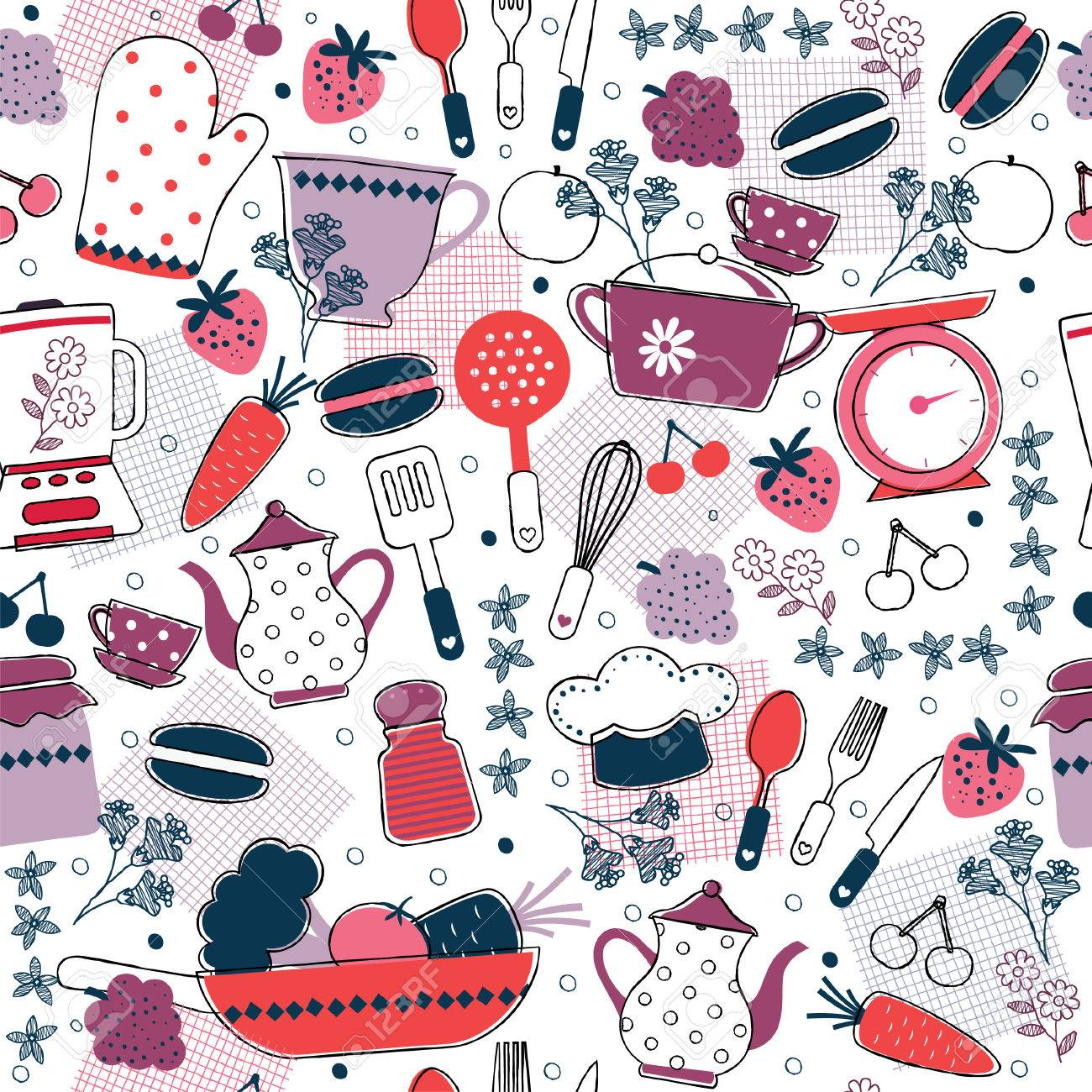 Seamless Kitchen Wallpaper Design Stock Vector   33301911