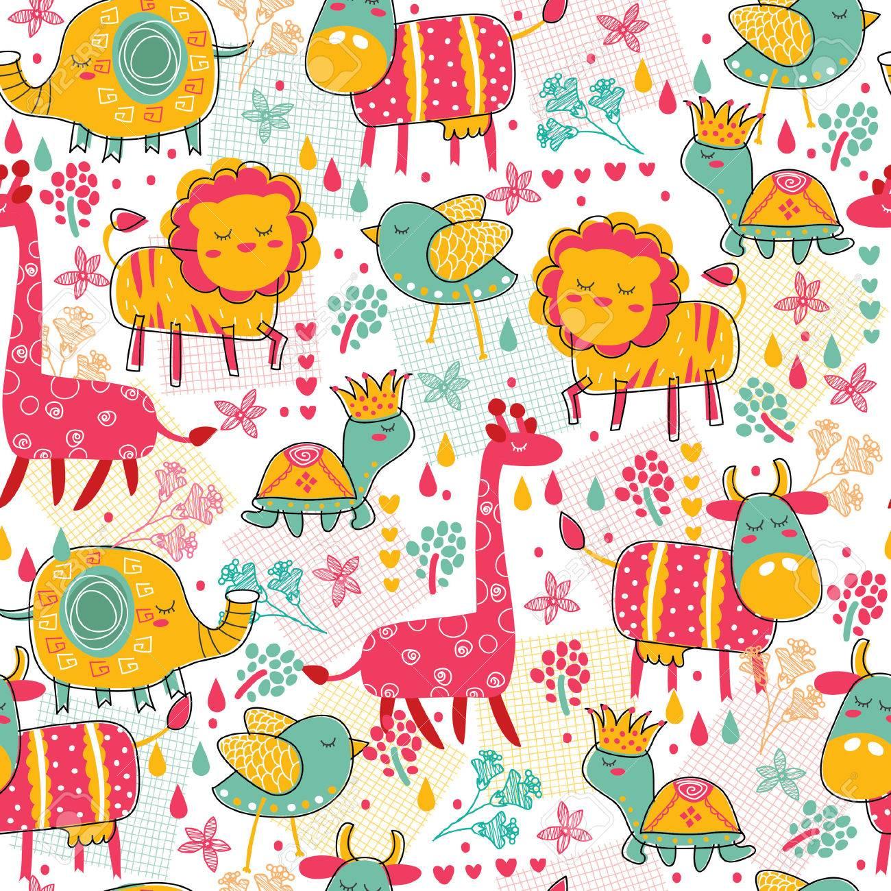 野生動物のシームレスな壁紙イラスト ロイヤリティフリークリップアート