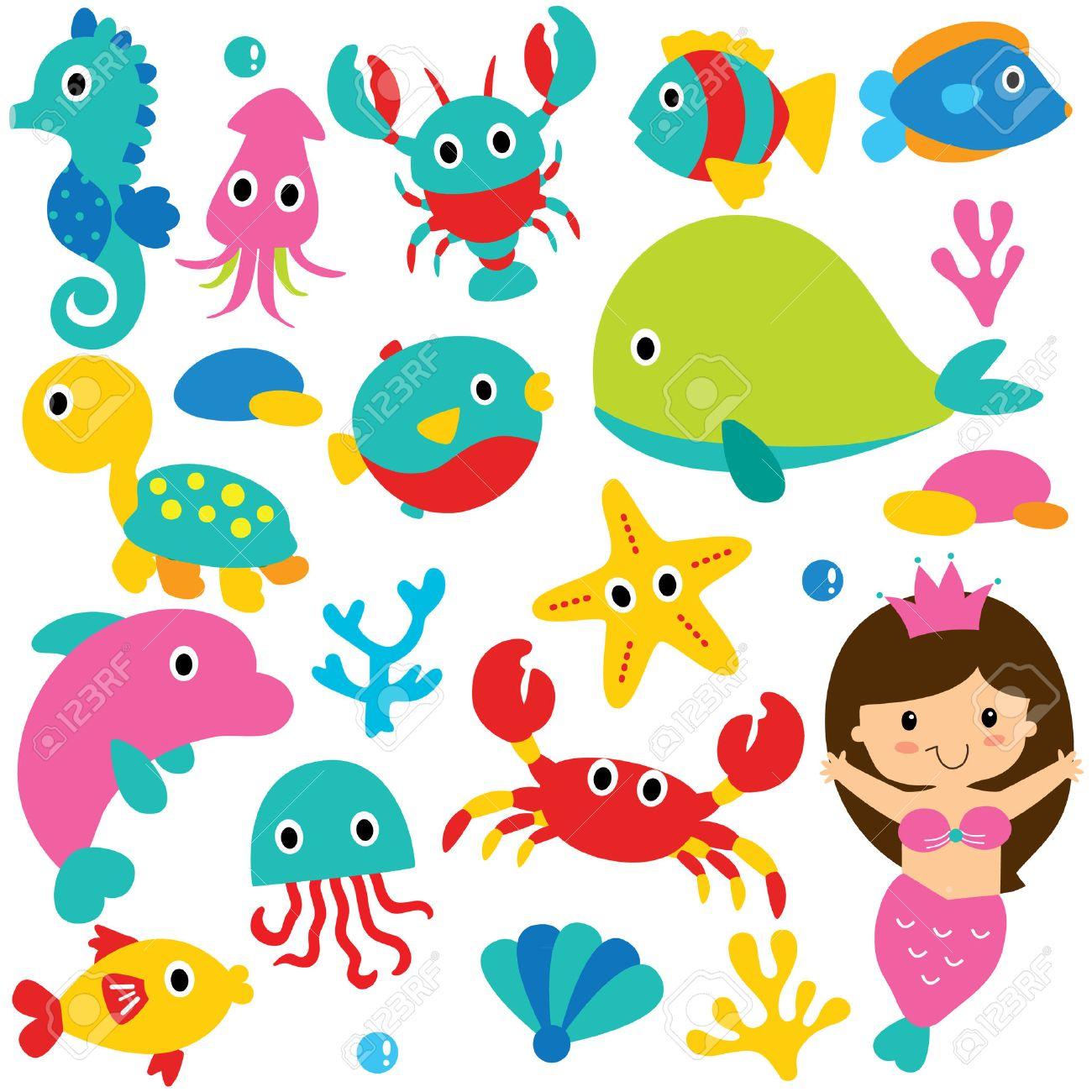 かわいい海の動物クリップ アート セットのイラスト素材ベクタ Image