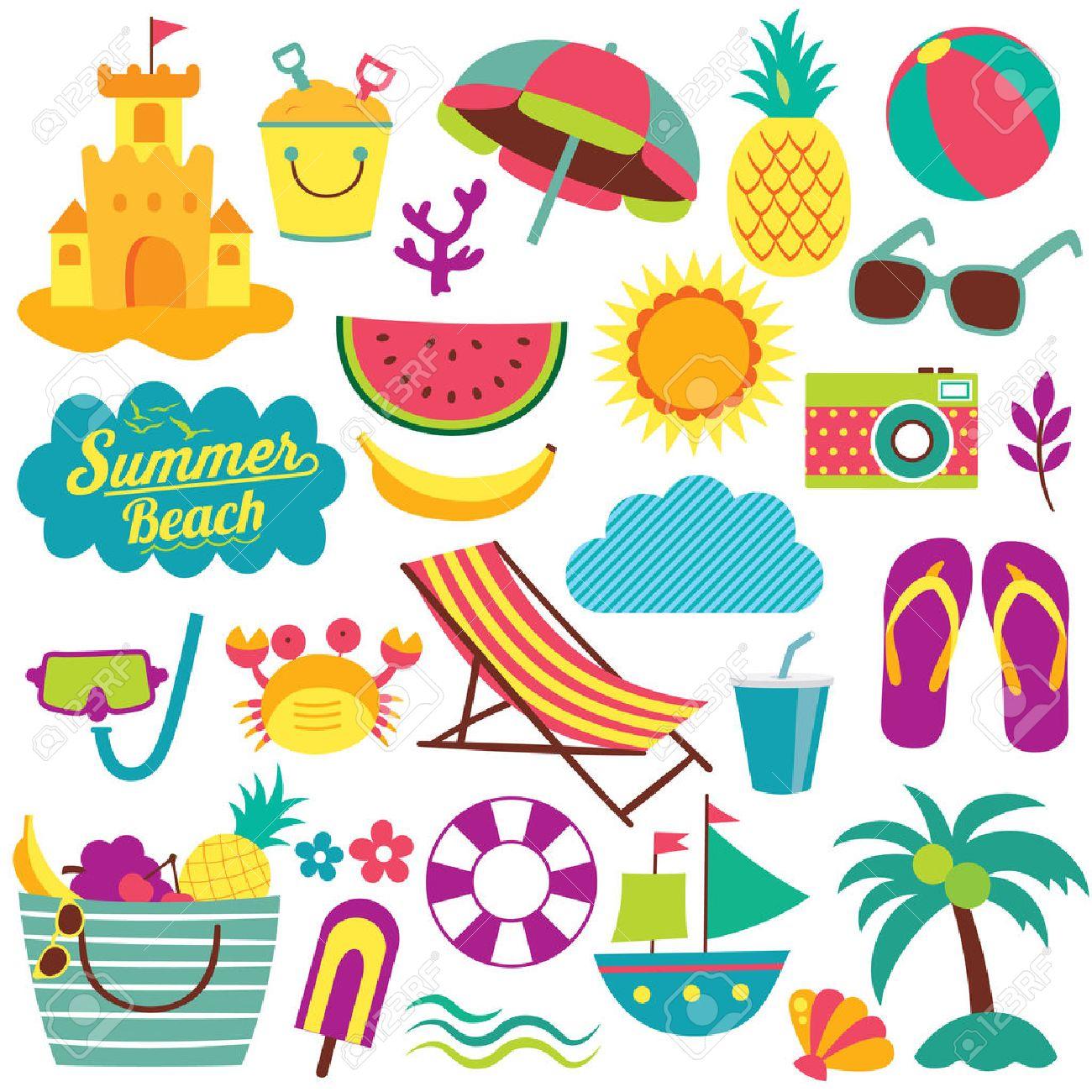 夏の日の要素のクリップ アート セットのイラスト素材ベクタ Image