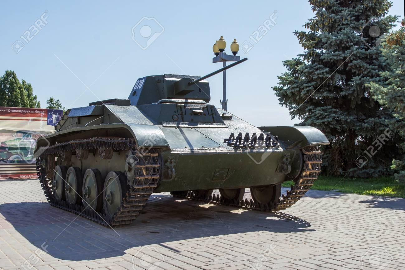 WOLGOGRAD, RUSSLAND - 4. August 2015: Sowjetischer Heller Behälter T ...