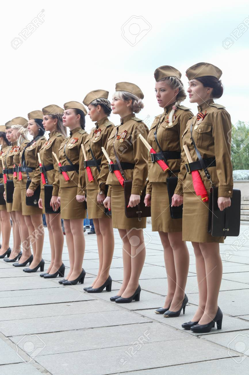 VOLGOGRAD, RUSSIA - October 15, 2017: Women In A Military Uniform.. Stock Photo, Picture And Royalty Free Image. Image 90643425.