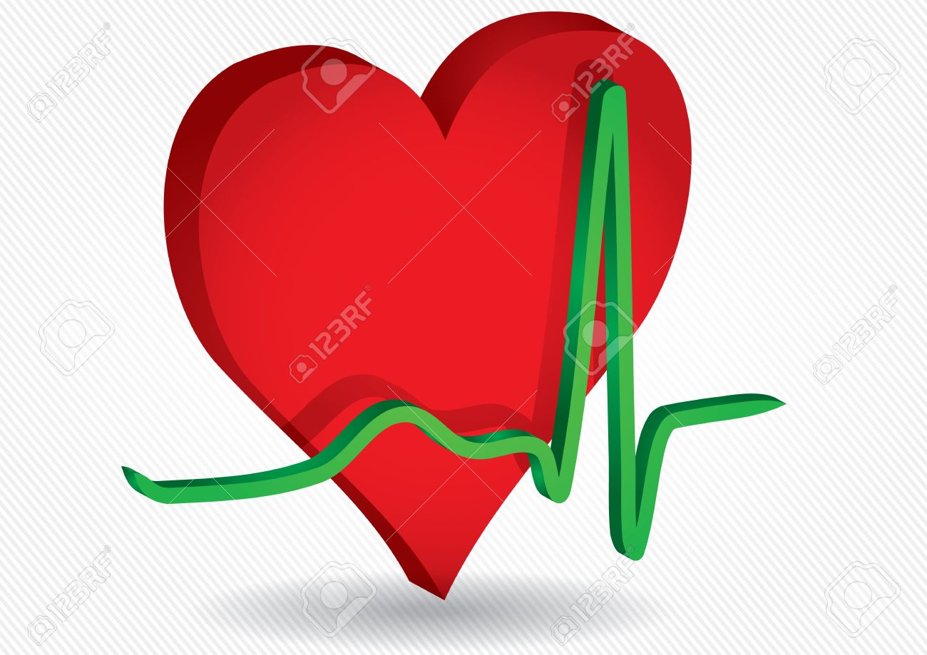 Medical background with red hearth and ECG curve Stock Vector - 12375958