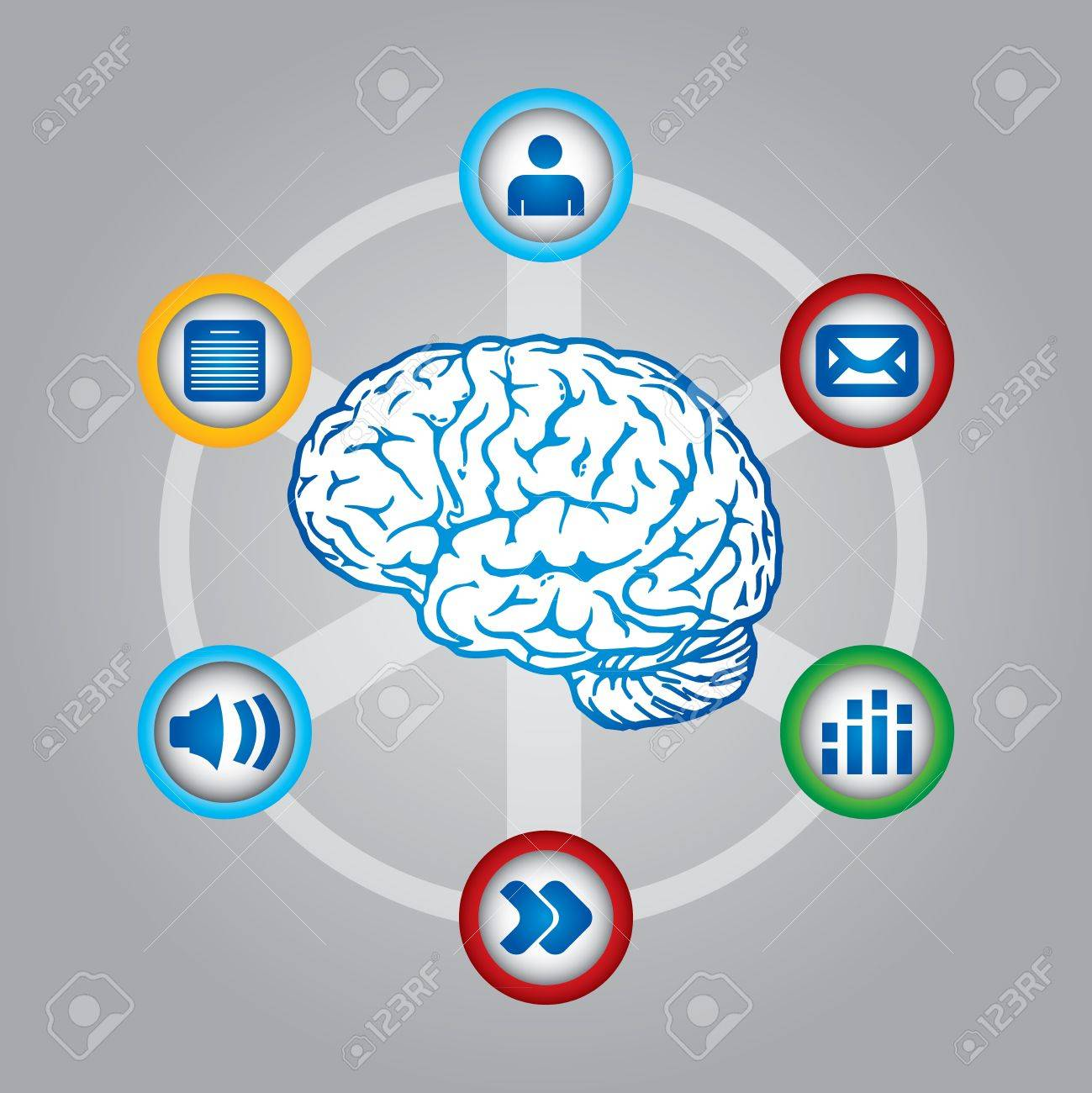Multimedia thinking - communication concept with brain and web icons Stock Vector - 15406775