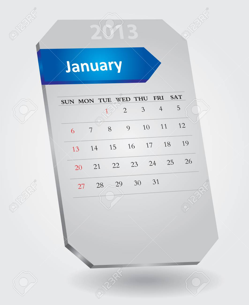 Classical monthly calendar for January, 2013 Stock Vector - 15682582