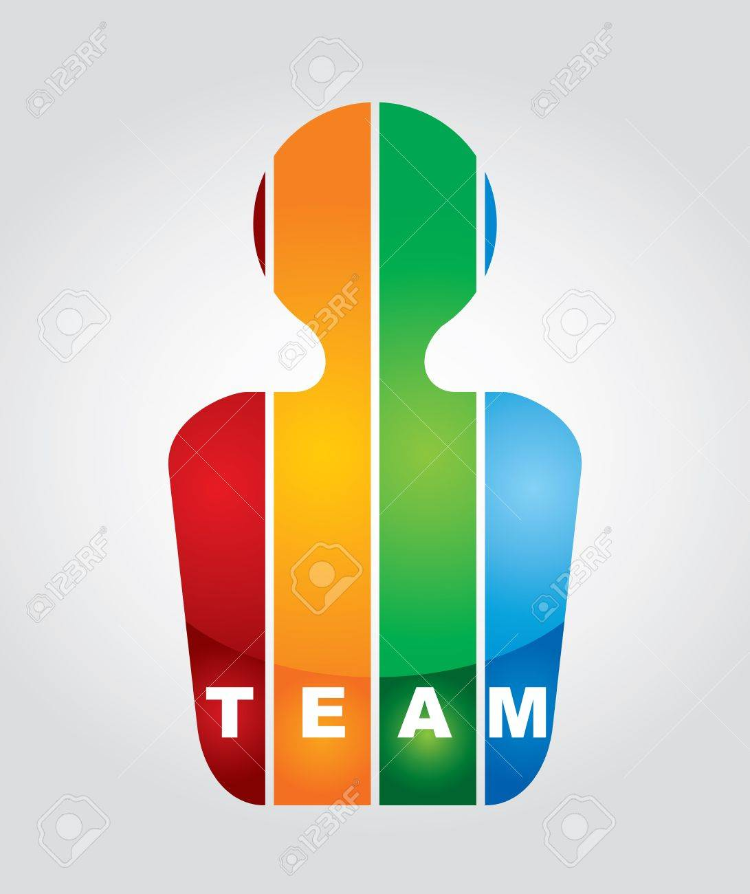 Team - communication concept with text and color figures Stock Vector - 16258919