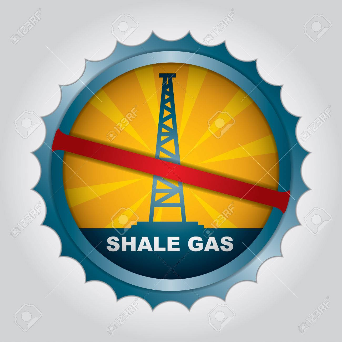 Label for the exploitation of shale gas ban Stock Vector - 24814383