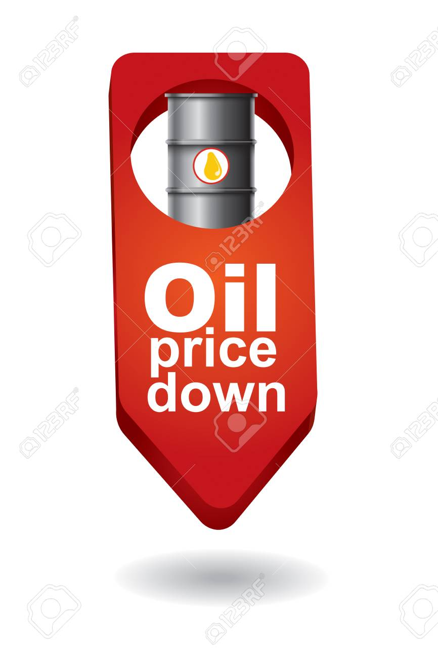 Crude Oil Price Down Abstract Illustration With Barrel Arrows