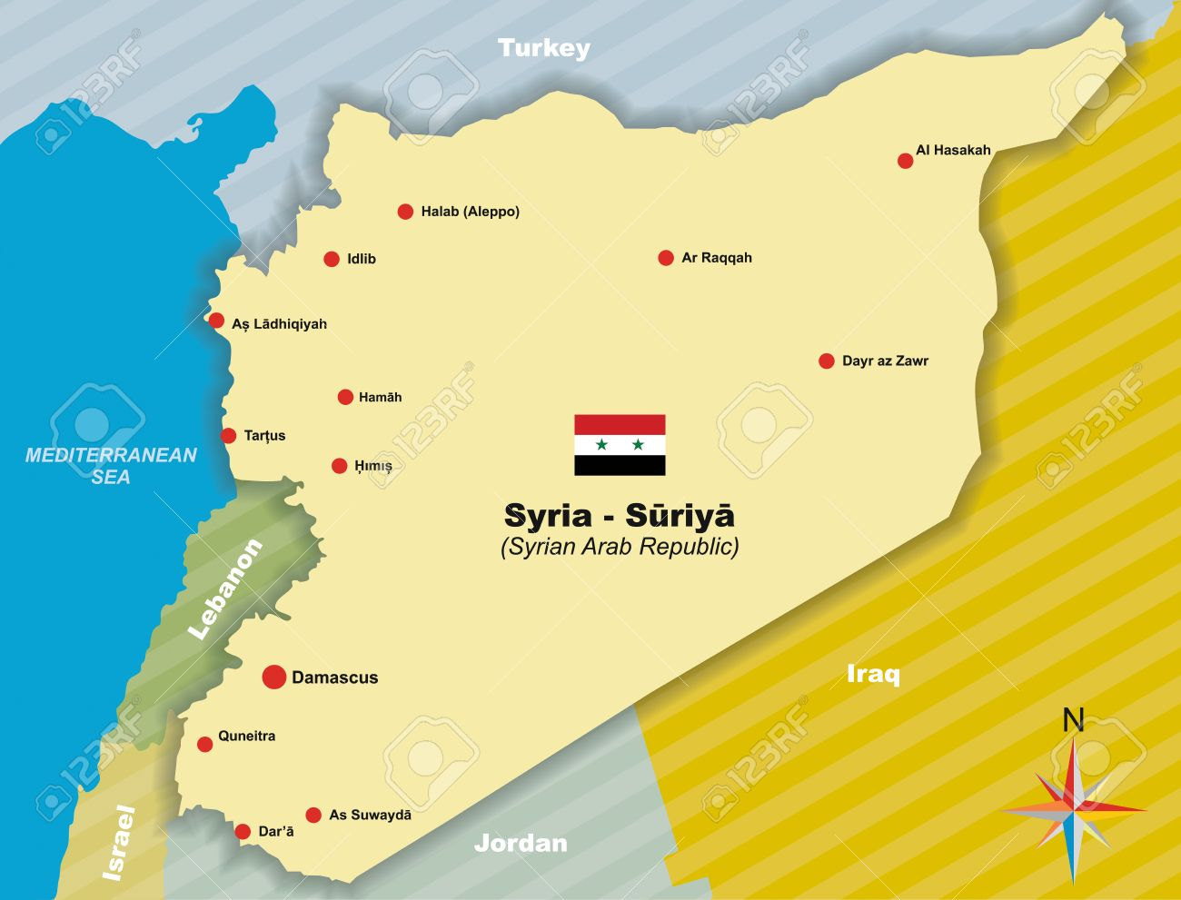 Syria Vector Map Of Syrian Arab Republic Royalty Free Cliparts