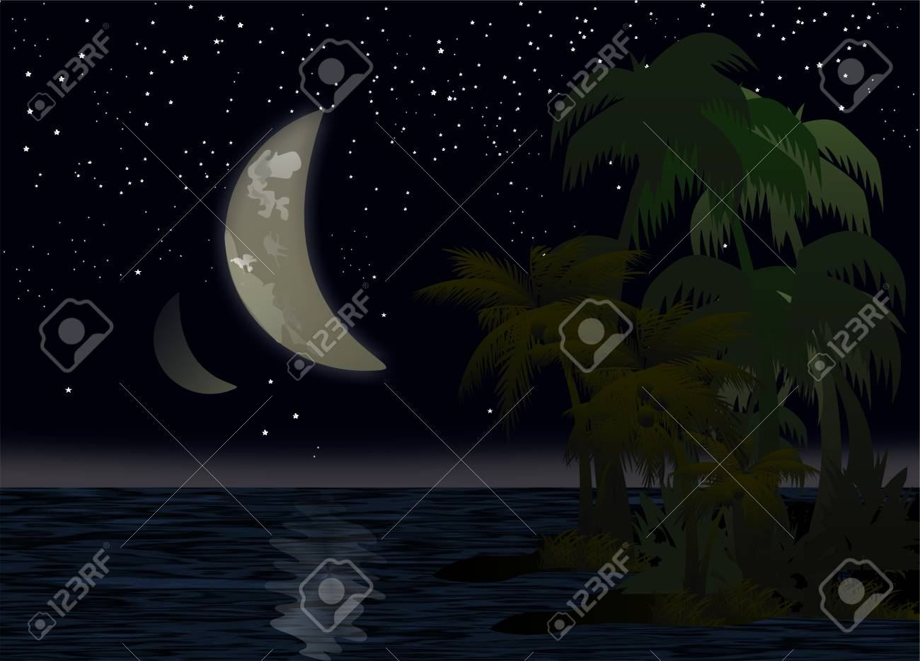 night above the Pacific Ocean Stock Vector - 16921834