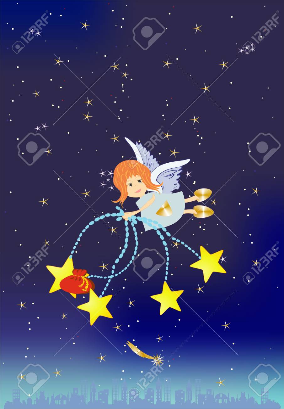 Christmas background with an angel Stock Vector - 24231134