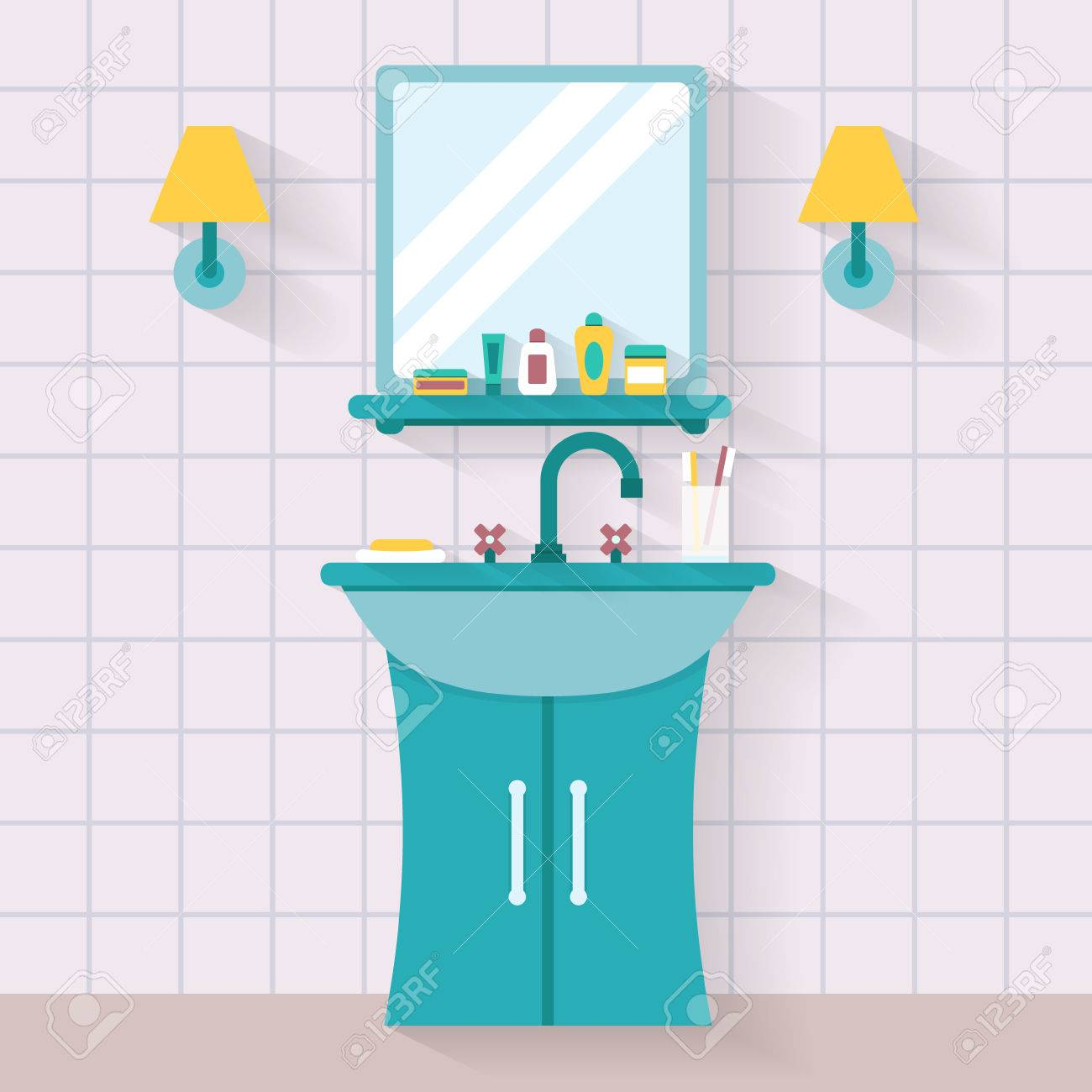 Bathroom Sink With Mirror Flat Style Vector Illustration Royalty