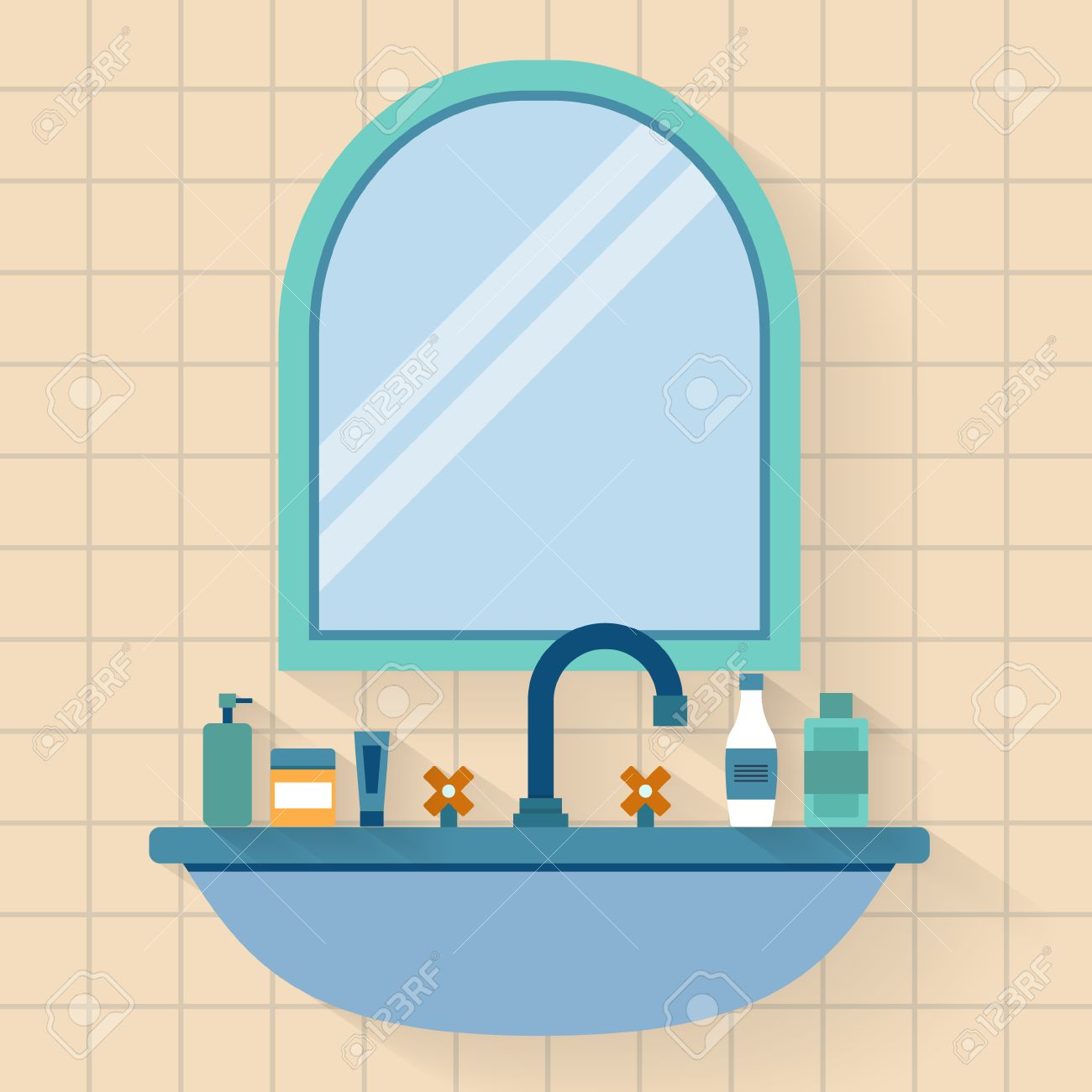 Bathroom sink and mirror - Bathroom Sink With Mirror Flat Style Vector Illustration Stock Vector 41411179
