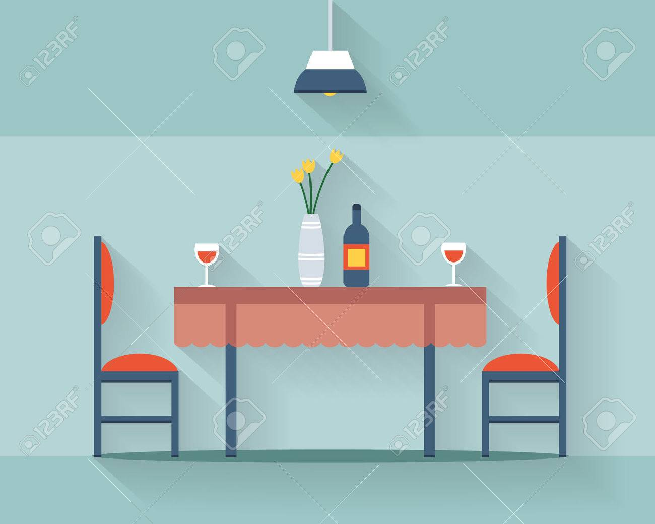 Dining table for date with glasses of wine, flowers and chairs. Flat style vector illustration. - 41456930