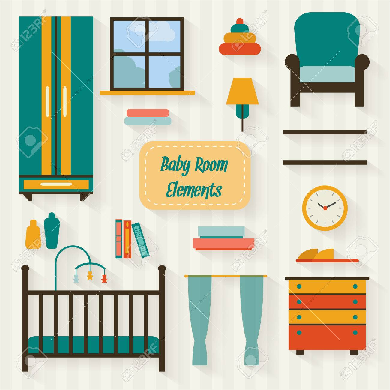 Baby Room With Furniture. Nursery Interior. Flat Style Vector ...