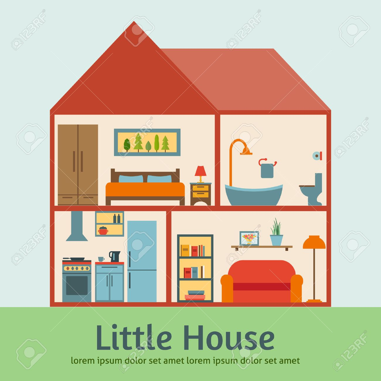 All rooms in the house rooms of homes vector art image illustration - Cutaway House In Cut Detailed Modern House Interior Rooms With Furniture Flat