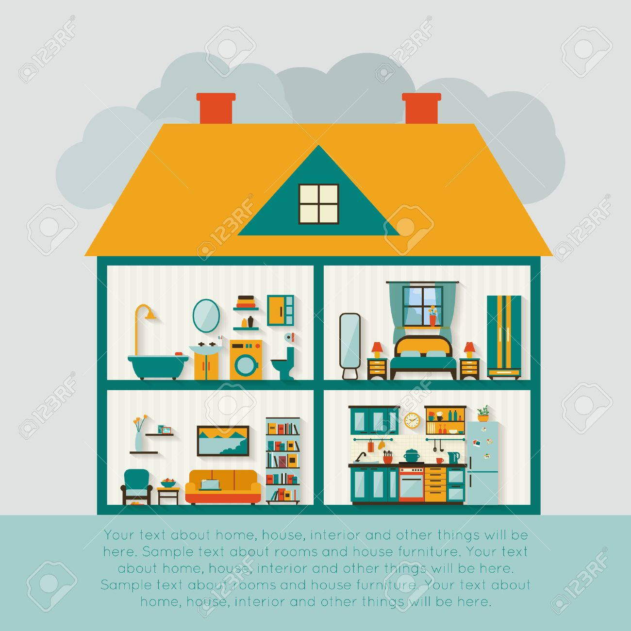 All rooms in the house rooms of homes vector art image illustration - House Interior House In Cut Detailed Modern House Interior Rooms With Furniture