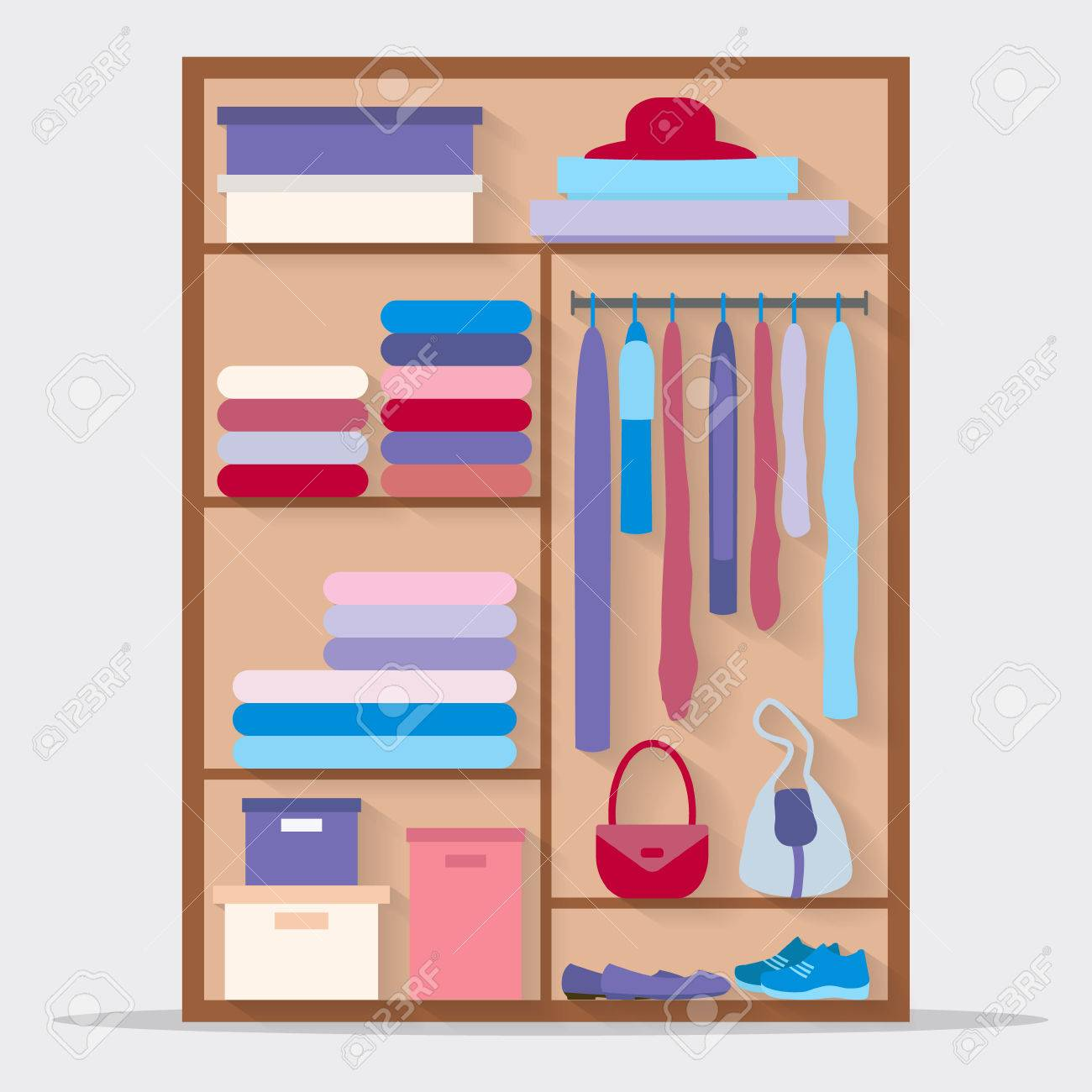 Wardrobe For Cloths Closet With Clothes And Bags Others Flat Style Vector Illustration