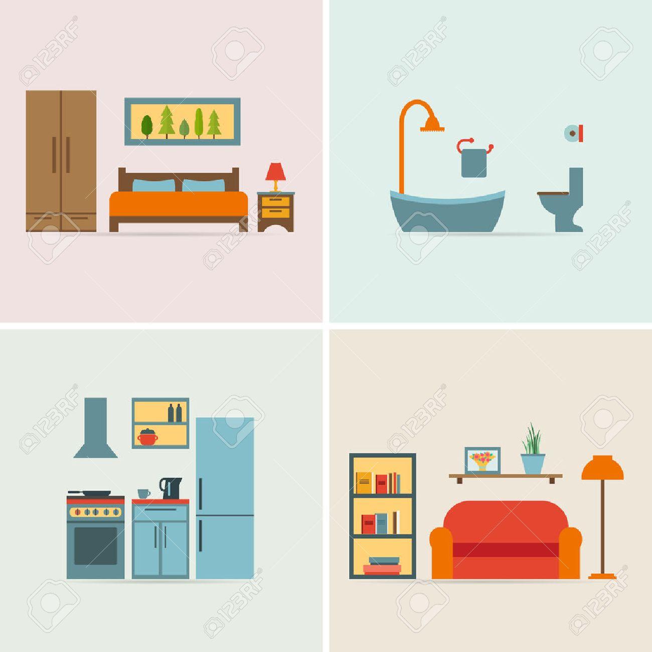 Superb Banner Mit Möbel Symbole Für Räume Des Hauses. Wohnung Stil  Vektor Illustration.