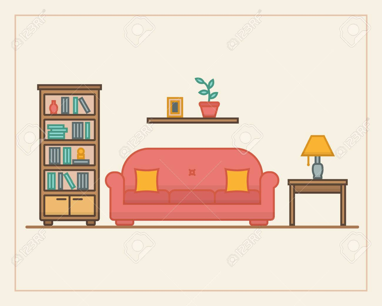 living room furniture clipart. living room with furniture and long shadows. flat line style vector illustration. stock clipart
