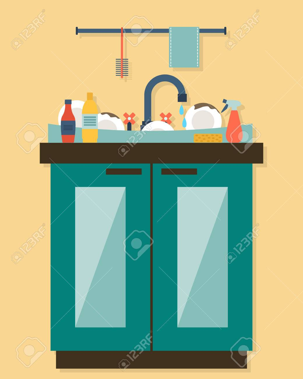 Kitchen sink with kitchenware, utensil, dishes, dish detergent and a sponge. Flat style vector illustration. - 41513184