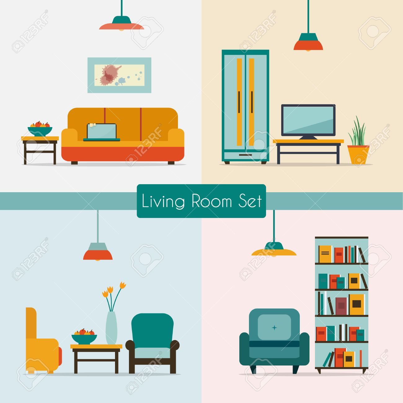 Living Room With Furniture And Long Shadows Flat Style Vector Illustration Stock
