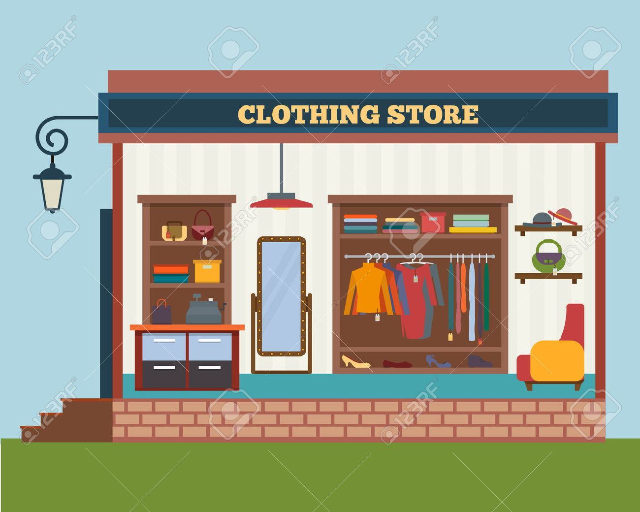 clothing store man and woman clothes shop and boutique shopping