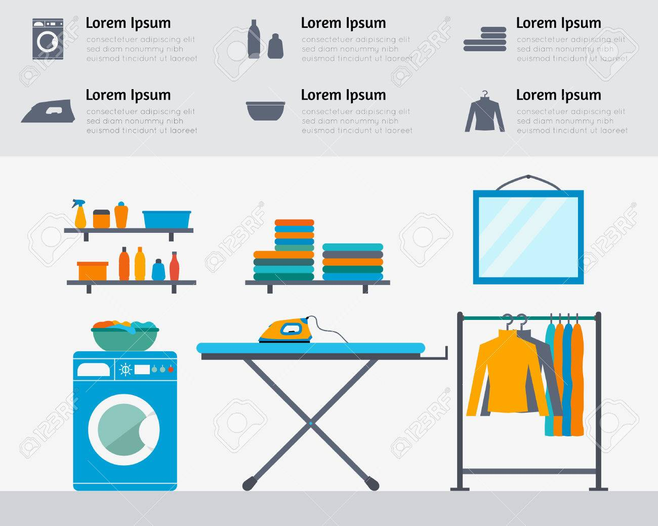 Laundry room with washing machine, ironing board, clothes rack with things, facilities for washing, washing powder and mirror. Flat style vector illustration. - 42448481