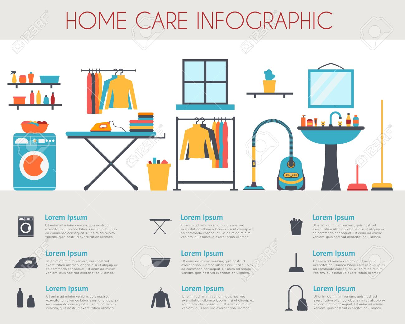 Home care and housekeeping infographic. Room with different housework icons. Flat style vector illustration. - 42448489