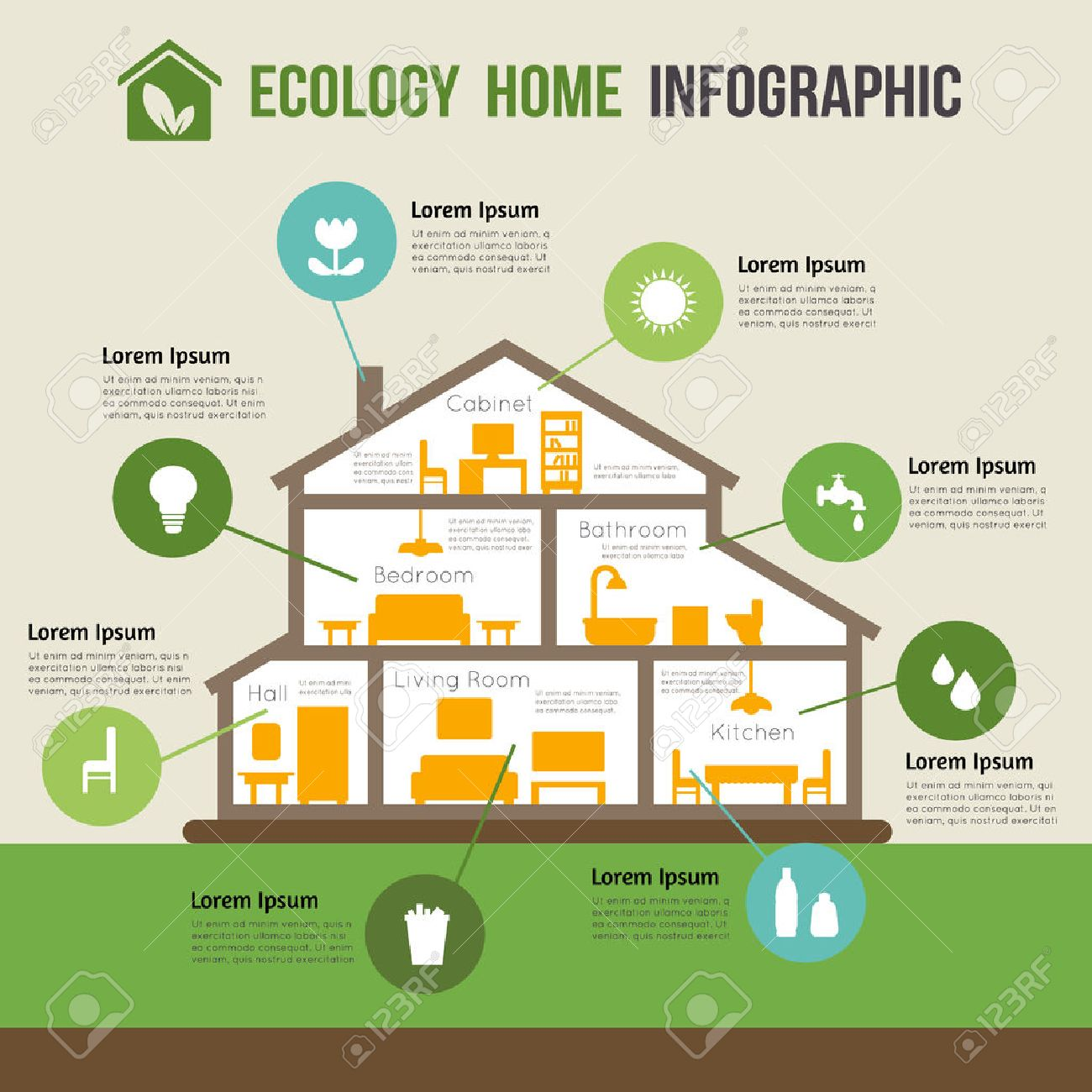 Eco-friendly home infographic. Ecology green house. House in cut. Detailed modern house interior. Rooms with furniture. Flat style vector illustration. - 42448501