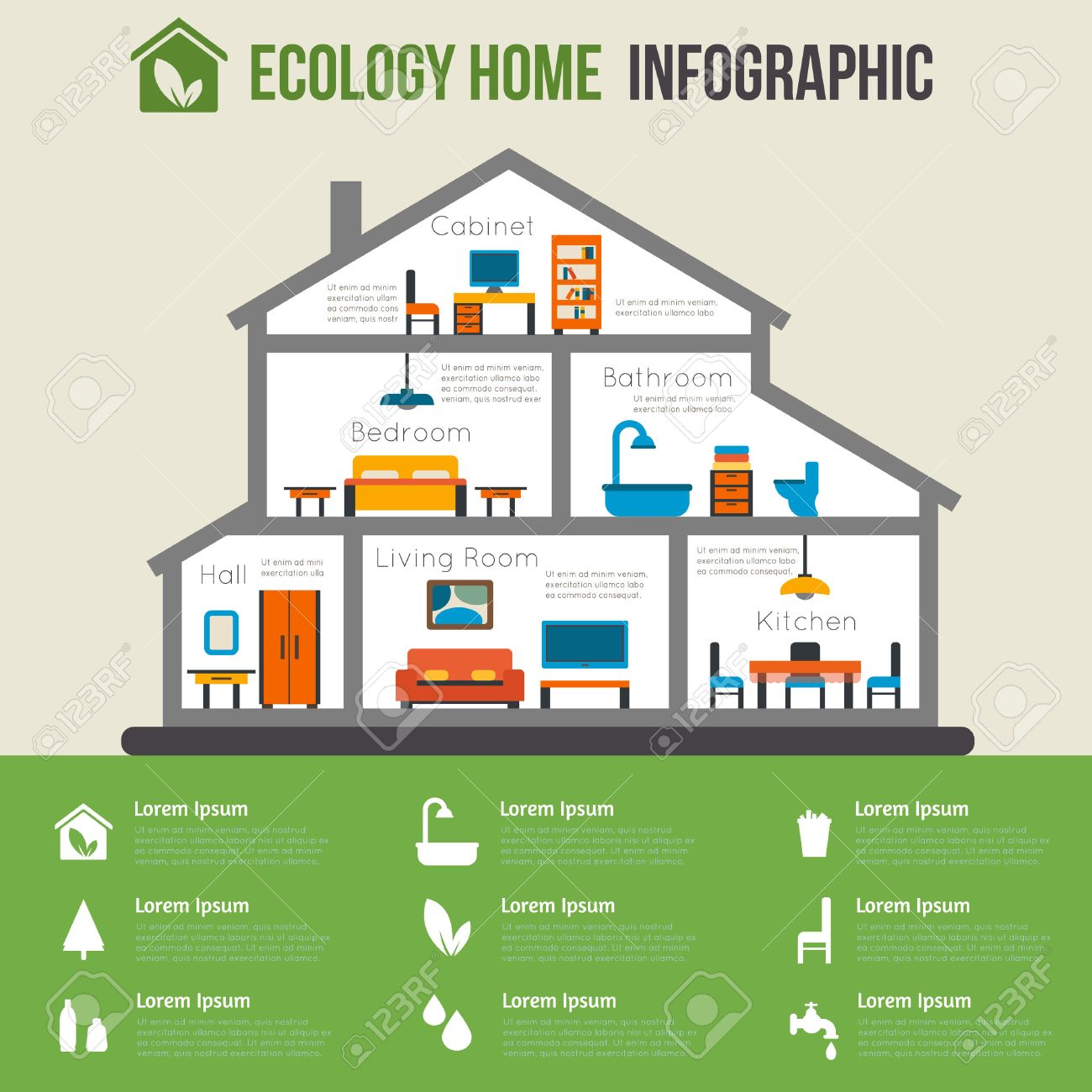 Eco Friendly Home Infographic. Ecology Green House. House In Cut. Detailed  Modern