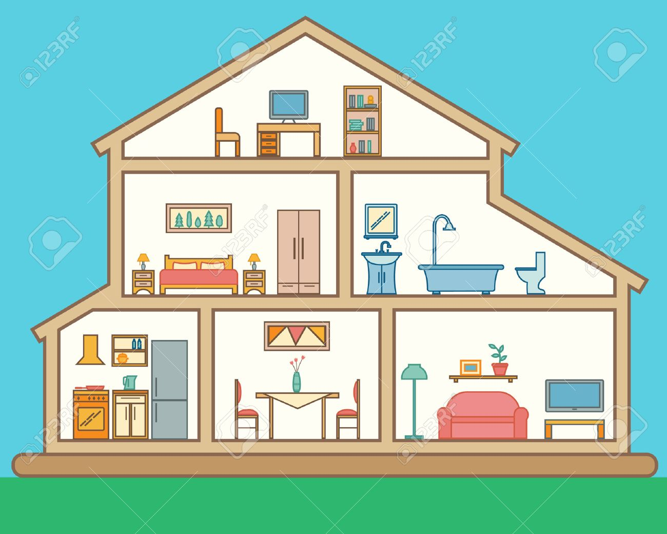 House In Cut. Detailed Modern House Interior. Rooms With Furniture. Flat  Line Style